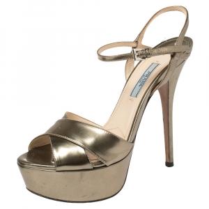 Prada Gold Patent Leather Platform Ankle Strap Sandals Size 37 - used