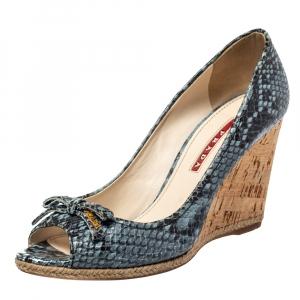 Prada Sport Blue/Black Python Embossed Leather Peep Toe Wedge Sandals Size 36 - used