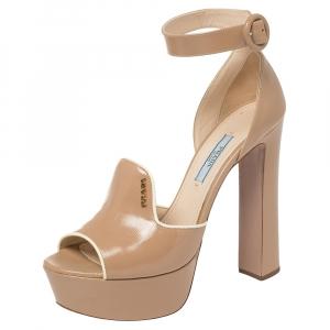 Prada Beige Patent Leather Ankle Strap Block Heel Platform Sandals Size 37 - used