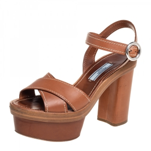 Prada Brown Leather Criss Cross Platform Ankle Strap Sandals Size 35 - used