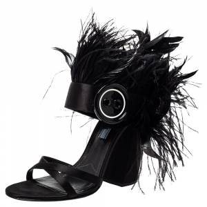 Prada Black Satin And Feather Trim Criss Cross Block Heel Sandals Size 39.5 - used