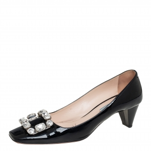 Prada Black Patent Leather Crystal Buckle Pumps Size 40