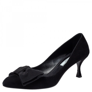 Prada Black Suede Bow Pointed Toe Pumps Size 38