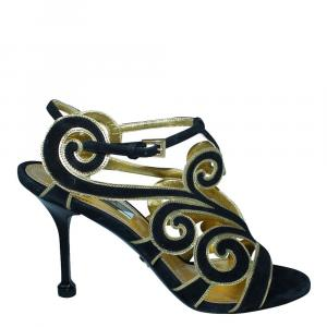 Prada Black Suede Cut Out  Sandals Size 38