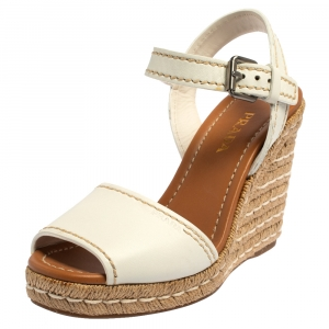Prada White Leather Espadrille Wedge Sandals Size 40