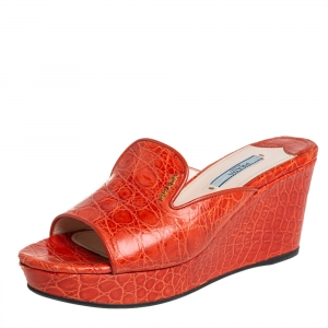 Prada Orange Croc Leather Wedge Mule Sandals Size 37