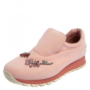 Prada Pink Nylon Crystal Embellished Slip On Sneakers Size 40