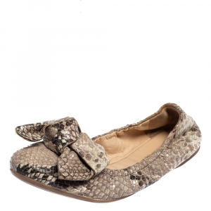 Prada Python Embossed Leather Scrunch Bow Ballet Flats Size 37.5 - used
