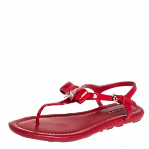 Prada Red Patent Leather Bow Sandals Size 36.5 - used