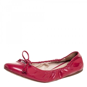Prada Pink Patent Leather Tassel Bow Scrunch Ballet Flats Size 35