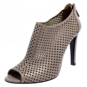 Prada Grey Perforated Leather Open Toe Booties Size 36.5