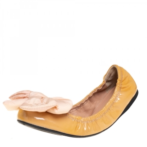 Prada Sports Beige Leather Bow Scrunch Ballet Flats Size 38.5