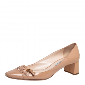 Prada Beige Patent Leather Laser cut Buckle Pumps Size 39.5