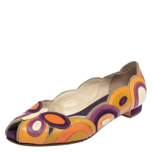 Prada Multicolor Patent Leather Butterfly Peep To Ballet Flats Size 38