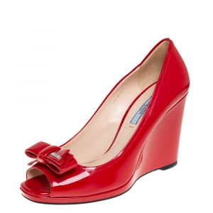 Prada Red Patent Leather Bow Peep Toe Wedge Pumps Size 38.5
