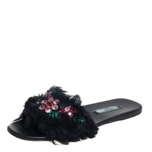 Prada Black Fur Crystal Embellishment Flat Sandals Size 37.5