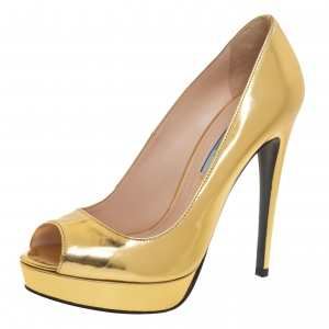 Prada Gold Leather Peep Toe Platform Pumps Size 37.5