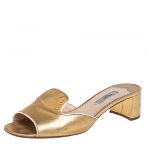 Prada Gold Saffiano Leather Block Heel Slide Sandals Size 38.5