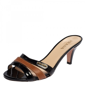 Prada Black/Brown Patent Leather Open Toe Slide Sandals Size 37.5