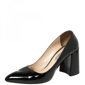 Prada Black Patent Leather  Block Heel Pumps Size 39