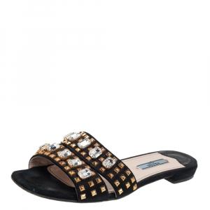 حذاء سلايدز فلات برادا سويدي مزخرف أسود مقاس 36.5