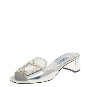 Prada Metallic Silver Leather Crystal Embellished Slide Sandals Size 38 - used
