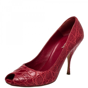 حذاء كعب عالي برادا مقدمة مفتوحة جلد منقوش أحمر مقاس 40