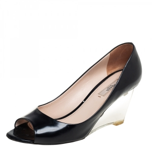 حذاء كعب عالي برادا مقدمة مفتوحة كعب روكي شفاف جلد أسود مقاس 37