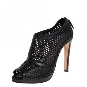 Prada Black Perforated Leather Peep Toe Booties Size 36 - used