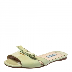 Prada Green Patent Leather Slide Sandals Size 37.5 - used