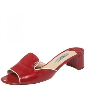 Prada Red Patent Saffiano Leather Block Heel Slide Sandals Size 40 - used
