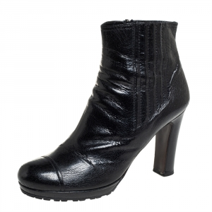 Prada Black Textured Leather Cap Toe Ankle Boots Size 39