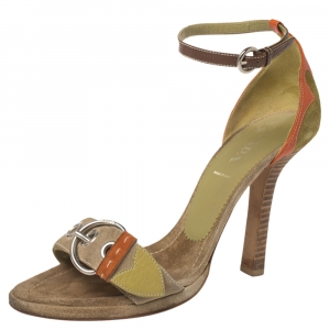 Prada Tri Color Suede and Leather Buckle Detail Ankle Strap Sandals Size 38 - used