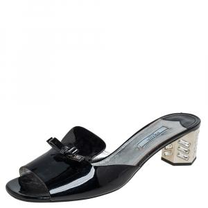 Prada Black Patent Leather Crystal Embellished Block Heel Slide Sandals Size 40 - used