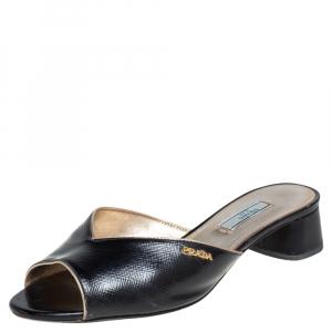 Prada Black Saffiano Patent Leather Slide Sandals Size 38.5 - used