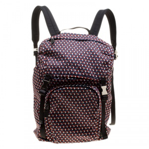 Prada Multicolor Vela Octagon Patterned Printed Nylon Tessuto Backpack