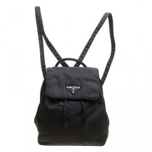 Prada Black Nylon Drawstring Backpack