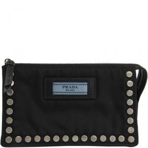 Prada Black Tessuto Nylon Studded Cosmetic Pouch