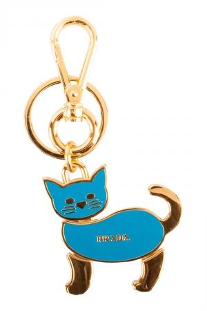 Prada Blue Enamel Cat Gold Tone Key Ring / Bag Charm