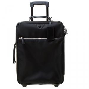 Prada Black Tessuto and Leather Trolley Rolling Luggage