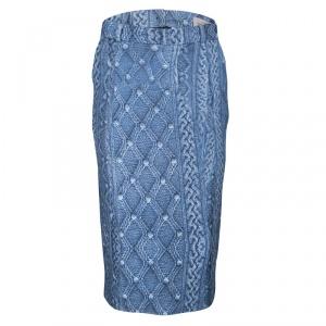 Preen By Thornton Bregazzi Blue Printed Fitted Sahara Midi Skirt S