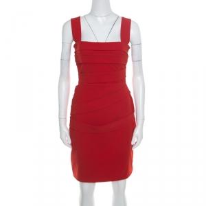 Preen by Thornton Bregazzi Ruby Red Asymmetric Bandage Detail Dew Bodycon Dress L