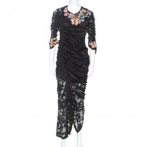 Preen Black Stretch Lace Embellished Detail Ruched Georgia Dress L