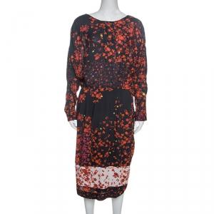 Preen Line Navy Blue Flower Print Viscose Vivian Dress L