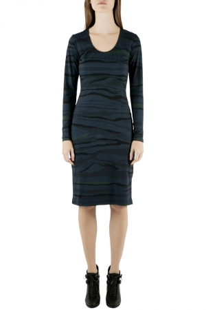 Preen by Thornton Bregazzi Blue Camouflage Print Jersey Long Sleeve Avery Dress S - used