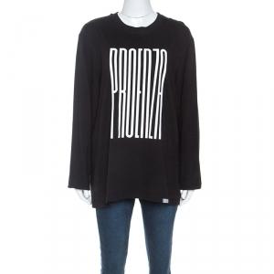 Proenza Schouler Black Cotton Embossed Logo Detail T-shirt M