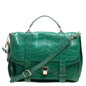 Proenza Schouler Green Crocodile Large PS1 Top Handle Bag