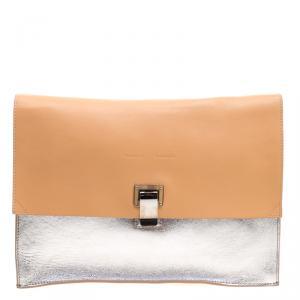 Proenza Schouler Beige/Silver Leather Lunch Clutch