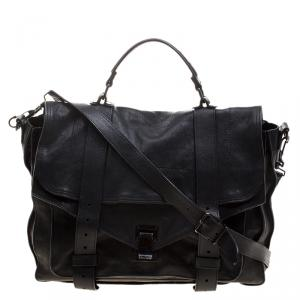 Proenza Schouler Black Leather Large PS1 Top Handle Bag