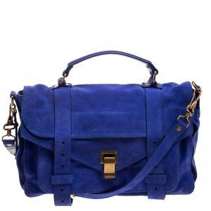 Proenza Schouler Blue Suede PS1 Top Handle Bag